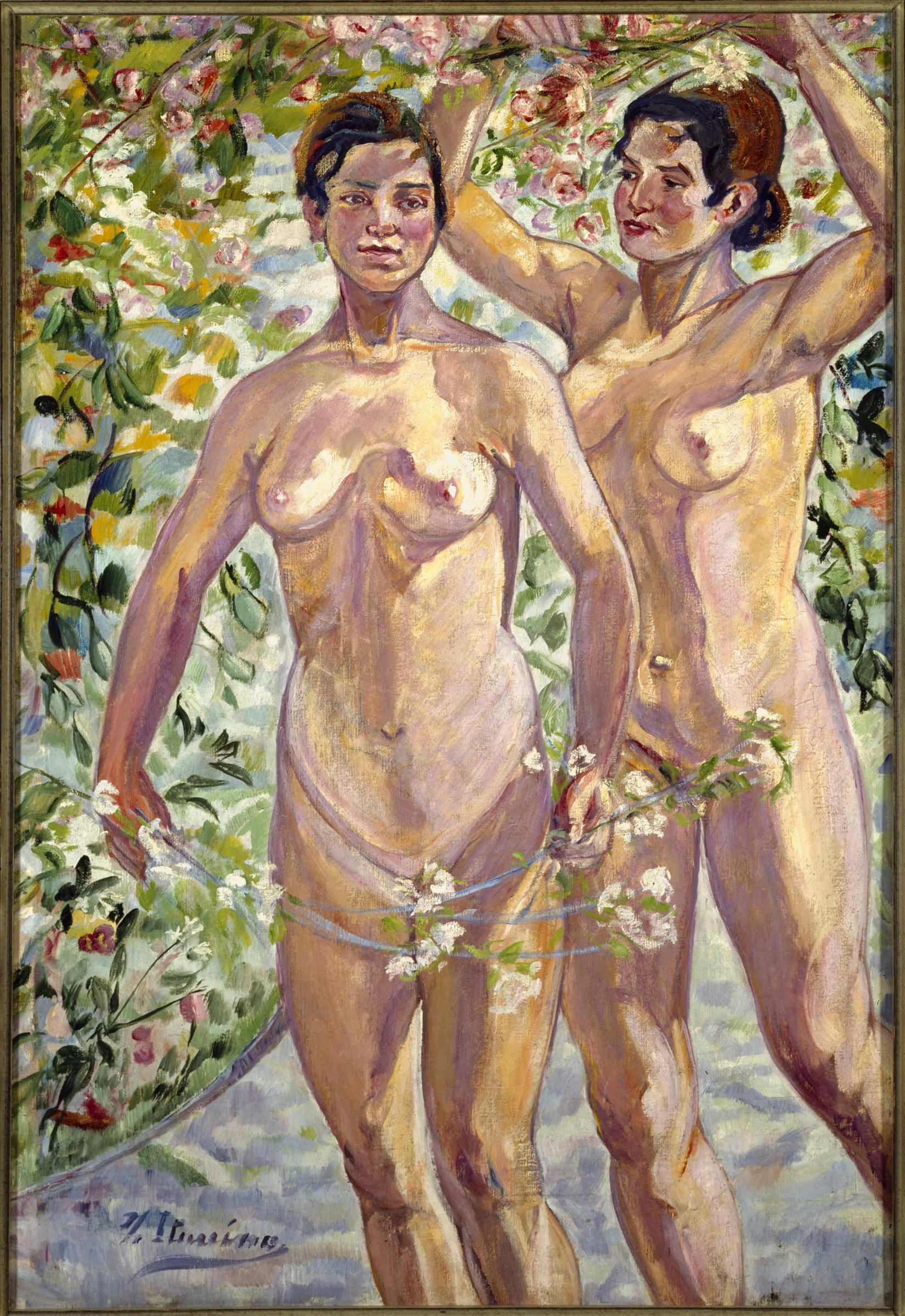"""Muchahas con flores"", de Francisco Iturrino. (www.museoreinasofia.es)"