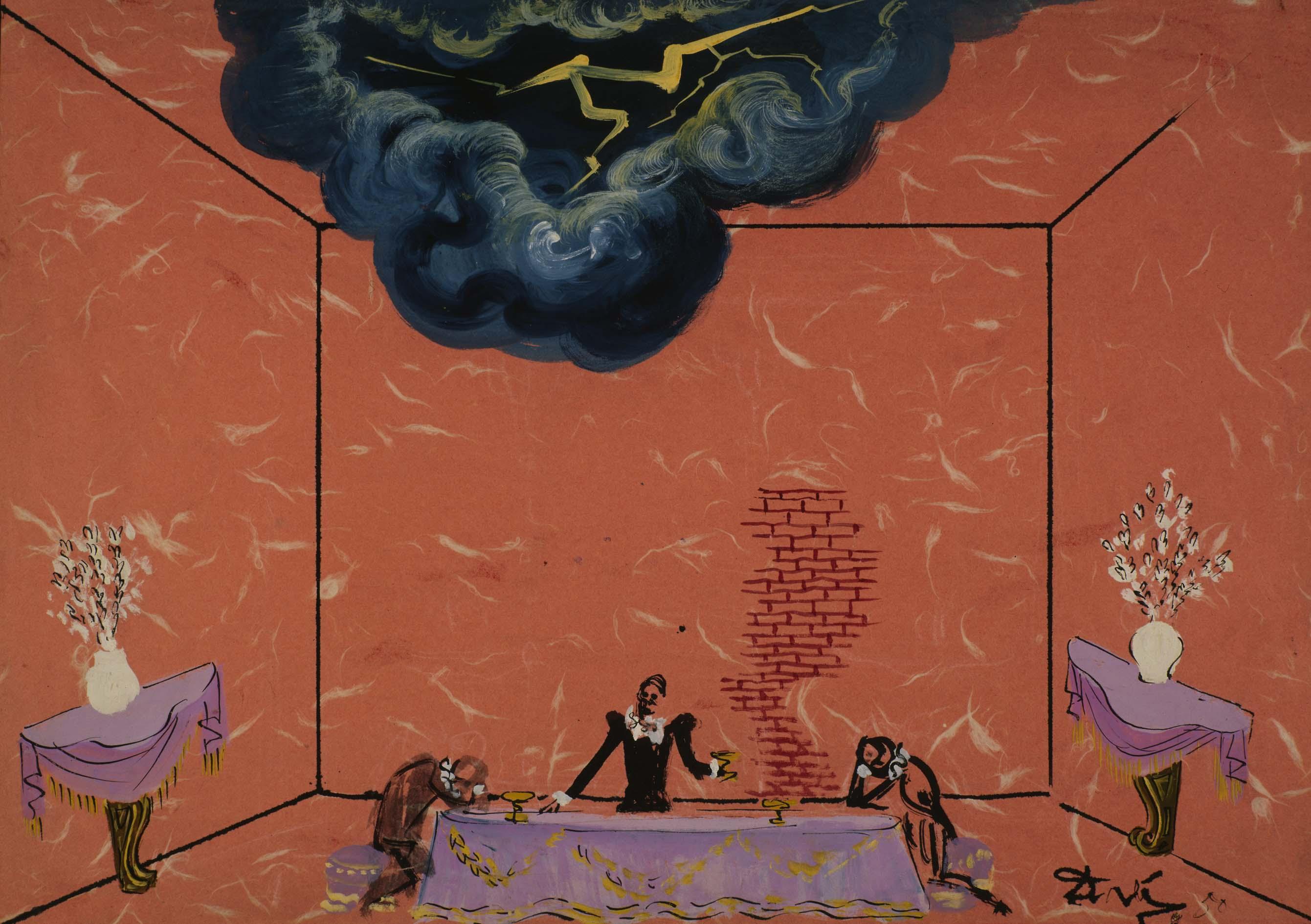 Salvador Dalí - Escenografía de mesa con personajes (Boceto para la ...