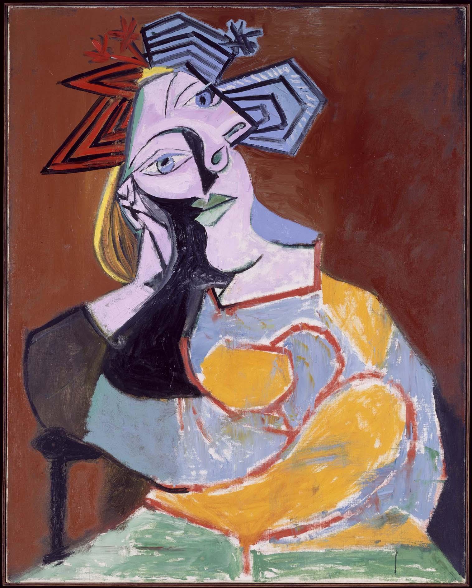 Amado Pablo Picasso (Pablo Ruiz Picasso) - Femme assise accoudée (Mujer  YC55