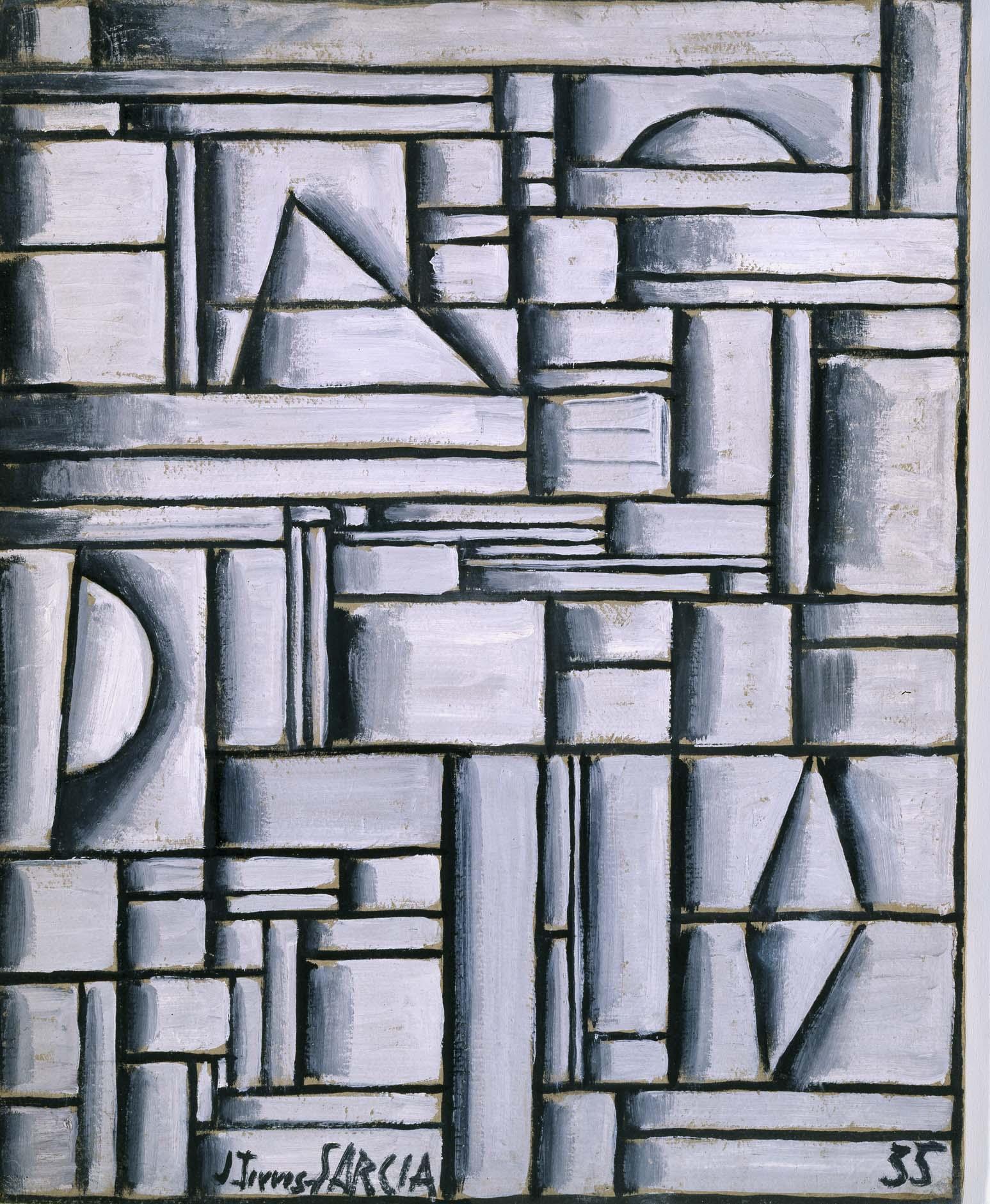 Joaquín Torres García Estructura Abstracta Con Formas Geométricas