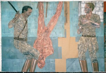 Leon Golub. Interrogatorio I (Interrogation I), 1981. Acrílico sobre Lino. © The Estate of Leon Golub, VEGAP, Madrid, 2011