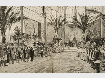 Comba y Rico. Opening of the Philippines Exhibition. Opening Contest chaired by H.M. Queen Regent . Print, 1887. Courtesy of Biblioteca Nacional, España
