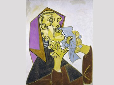 Pablo Picasso. Cabeza de mujer llorando con pañuelo (III). Postscripto de «Guernica». Pintura, 1937