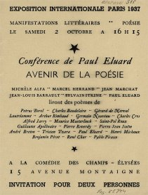 Flyer for the conference of Paul Eluard Avenir de la poésie, 1937. Biblioteca y Centro de Documentación, Museo Nacional Centro de Arte Reina Sofía, Madrid