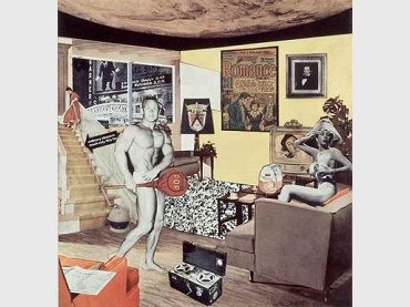 Richard Hamilton. Just what is it that makes today's homes so different, so appealing? [¿Qué es lo que hace que las casas de hoy sean tan diferentes, tan atractivas?], 1956/1992. Collage. 26 x 25 cm. Colección particular. © R. Hamilton. All Rights Reserved, VEGAP, Madrid, 2014