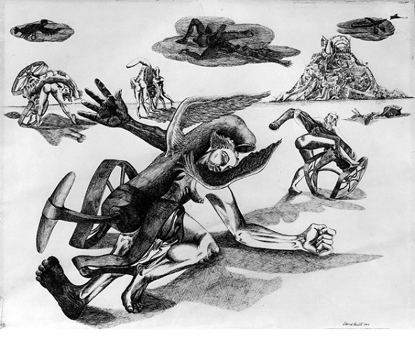 David Smith, <em>The Occupied Country</em>, 1942. Pen and ink on paper, (49.5 x 63.5 cm). (c) Estate of David Smith/VAGA, NY. Photo by Geoffrey Clements.