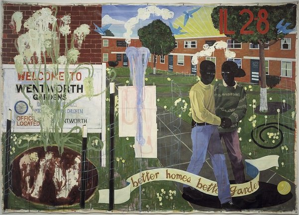 Kerry James Marshall. Better Homes, Better Gardens, 1994. Denver Art Museum Collection: Fondos de Polly y Mark Addison, the Alliance for Contemporary Art, Caroline Morgan, y Colorado Contemporary Collectors: Suzanne Farver, Linda y Ken Heller, Jan y Frederick Mayer, Beverly y Bernard Rosen, Annalee y Wagner Schorr, y donantes anónimos, 1995.77 © Fotografía de Kerry James Marshall cortesía del Denver Art Museum