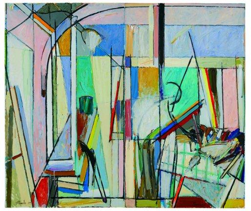 Alfonso Albacete, En el estudio, 1979. Óleo sobre lienzo, 196 x 228 cm. Colección Fundación Juan March, Museu Fundación Juan March, Palma. © VEGAP, Madrid, 2013