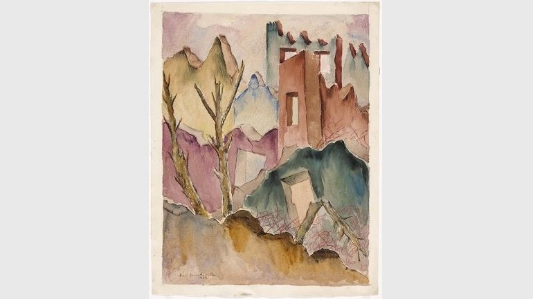 Quintanilla, Luis. Ruinas [Ruins], 1943. Graphite, watercolor, black ink pen, crayon on paper. Museo Nacional Centro de Arte Reina Sofía Collection