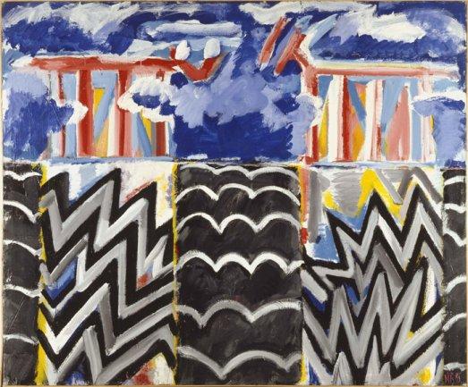 Juan Navarro Baldeweg. Centinelas del aire y fuego, 1983. Técnica mixta/lienzo, 216 x 260 cm. Museo Nacional Centro de Arte Reina Sofía. © VEGAP, Madrid, 2013