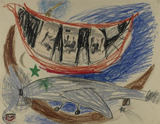 Lee Lozano. No title, ca. 1961-62. Graphite and crayon on paper. Pinault Collection