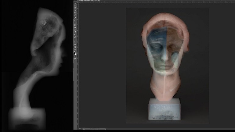 Transparency of the visible light photography and the radiograph of Portrait of Joella