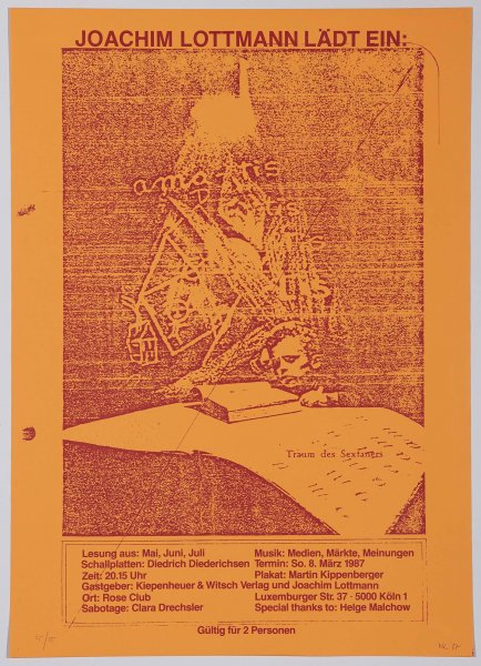 Joachim Lottmann Lädt Ein: Traum des Sextaners. Köln. So. 8 März 1987 (The Fifth-grader's Dream. Invite for Joachim Lottmann. Cologne. 8 March 1987)