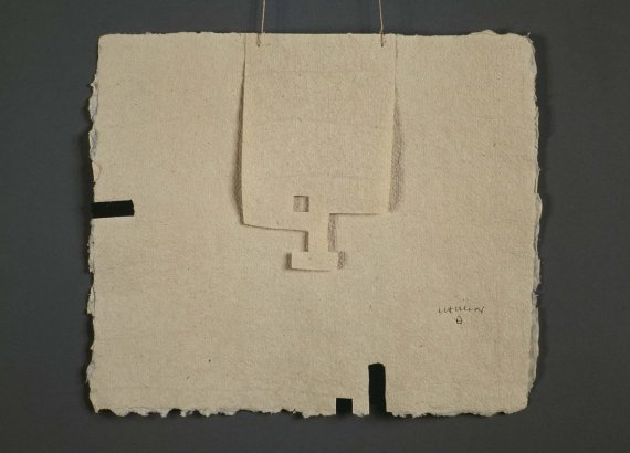 Chillida collage made by superimposing paper and sewing togetehr