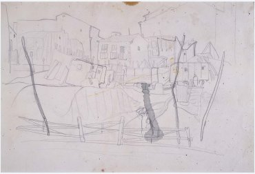"Boceto para «Mañana de verbena o El Pim, Pam, Pum» (Carretas de la feria con el entorno de las casas que le rodean) (Sketch for ""Morning at the Fair or Pim, Pam, Pum"" [Ox Carts at the Fair with the Setting of the Houses Around It])"