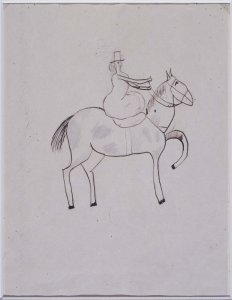 "Boceto para «Mañana de verbena o El Pim, Pam, Pum» (Señora a caballo del carrusel) (Sketch for ""Morning at the Fair or Pim, Pam, Pum"" [Lady on a Carousel Horse])"