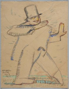 Personaje con sombrero de copa desfilando (Figure Walking with Hat)