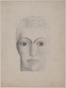 "Cabeza (boceto y estudio de proporciones armónicas para el cuadro «Los atletas») (Head [Sketch and Study of the Symmetrical Proportions for the Painting ""The Athletes""])"