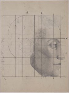 "Estudio armónico de cabeza para «Los atletas» (Symmetrical Study of Heads for ""The Athletes"")"