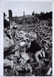 Child Playing on a Slum Clearance Site