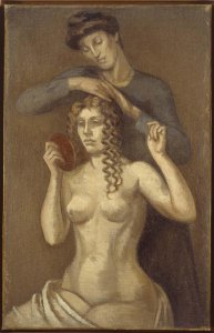 Femme coiffant une jeune fille (Mujer peinando a una joven)
