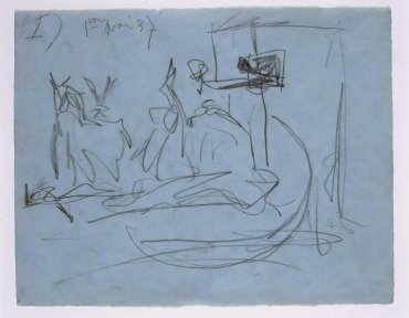 "Estudio de composición (I). Dibujo preparatorio para «Guernica» (Composition Study [I]. Sketch for ""Guernica"")"