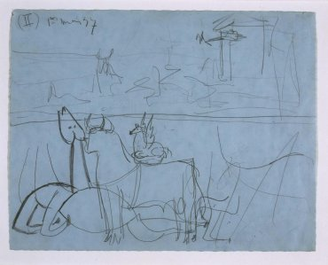 "Estudio de composición (II). Dibujo preparatorio para «Guernica» (Composition Study [II]. Sketch for ""Guernica"")"