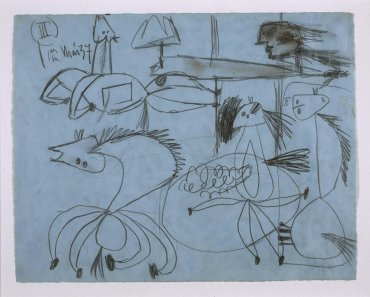 "Estudio de composición (III). Dibujo preparatorio para «Guernica» (Composition Study [III]. Sketch for ""Guernica"")"