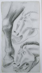 "Estudios para el caballo. Dibujo preparatorio para «Guernica» (Studies for the Horse. Sketch for ""Guernica"")"