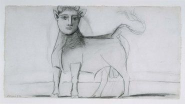 "Toro con rostro humano. Dibujo preparatorio para «Guernica» (Bull with Human Face. Sketch for ""Guernica"")"