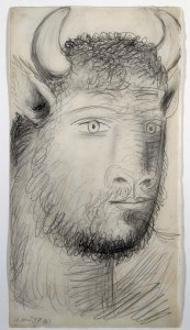 "Cabeza de toro con rostro humano. Dibujo preparatorio para «Guernica» (Bull Head with Human Face. Sketch for ""Guernica"")"