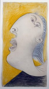 "Cabeza de mujer (I). Dibujo preparatorio para «Guernica» (Woman's Head [I]. Sketch for ""Guernica"")"