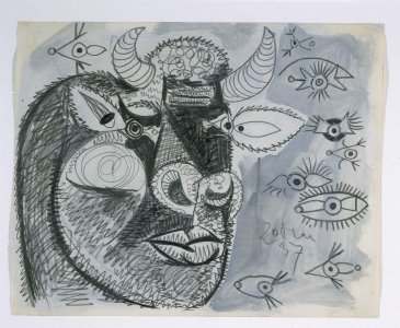 "Cabeza del toro con estudios de ojos. Dibujo preparatorio para «Guernica» (Bull's Head with Studies for Eyes. Sketch for ""Guernica"")"