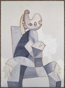 Femme assise dans un fauteuil gris (Woman Seated in a Grey Armchair)