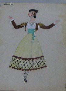 Figurín para pieza goyesca (Costume design for Goya-inspired theatrical piece)