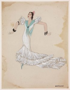 Figurín para una pieza con bata de cola (Costume design for theatrical piece with long-tailed dress)