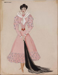 "Figurín para «La Argentinita» con vestido rosa (Costume design for ""La Argentinita"" in pink dress)"
