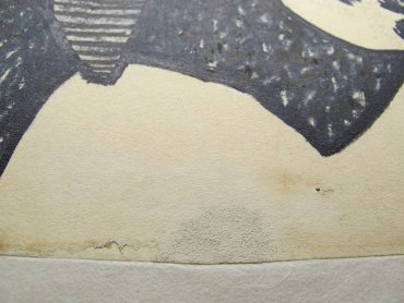 Details of the removal of the repainting carried out by the artist using correction fluid for typewriters