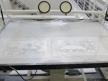 After the sheets of paper were hydrated they were flattened through the use of a low-pressure suction table