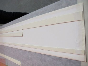 Details of the panel mounting system. The Japanese paper laminate was used to join the work to the support card on the back in a reversible manner